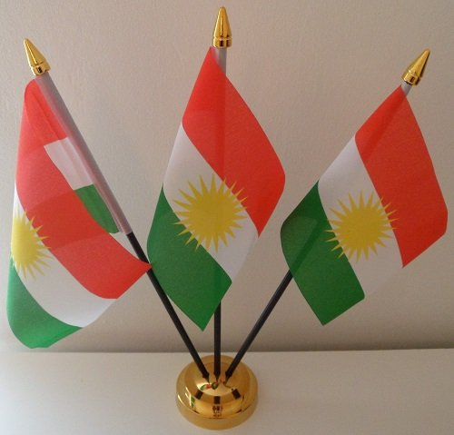 3 Kurdistan Flagge Kurden Table Desktop-Display, Gold