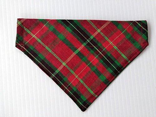 Scottish Plaid Festive St Patrick's Day Kilt Dog Bandana, Slip-On Doggie neckwear, Red Green Petwear, Holiday dog clothing, Pet over the collar reversible dogwear (Dog Bandana Collar)