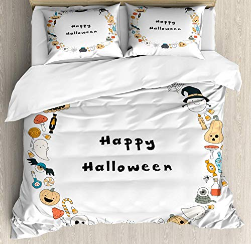 BABE MAPS 3 Piece Set Duvet Cover King Size Happy Halloween Spooky Theme Pumpkin Ghosts Spider Web Line Drawing Circle Frame Bedding Set,1 Comforter Cover,and 2 Pillow Cases Halloween