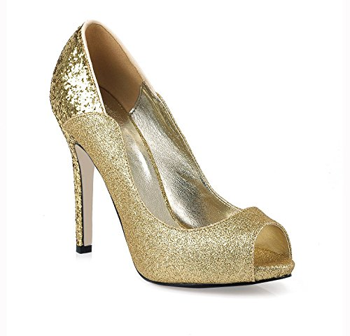 Click women fall new nice dinner fish tip shoes large golden wedding fine high-heel shoes Gold MbYlL4m8wW