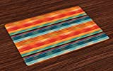 Lunarable Mexican Place Mats Set of 4, Abstract Vibrant Vintage Aztec Motif Gradient Blurred Lines Ecuador Crafts Image, Washable Fabric Placemats for Dining Room Kitchen Table Decoration, Multicolor
