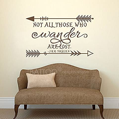 BATTOO Not All Those Who Wander Are Lost J.R.R. Tolkien Vinyl Wall Decal Sticker Arrow Wall Decals Inspirational Quote Home Interior Decor(dark brown, - Lost Soles Vinyl