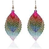 Bohemian National Style Fashion Earrings Double Leaf Pendant Earrings Simple Retro Two-color Alloy Leaf Earrings Earrings Jewelry (Color)