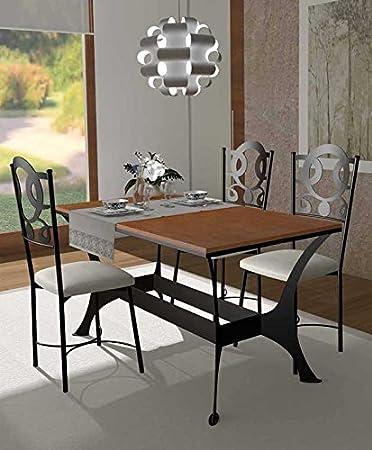 Mesas de Comedor de Forja y Madera : Coleccion OSLO RYS 140x80x80: Amazon.es: Hogar