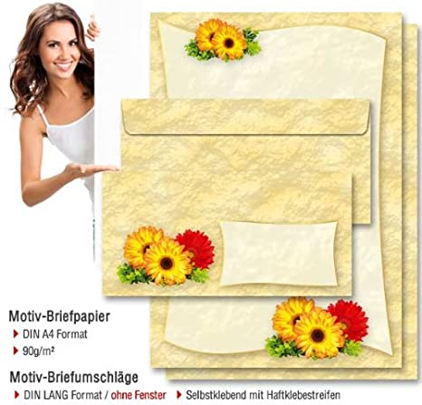 High-quality stationery DAISIES 20 sheets DIN A4