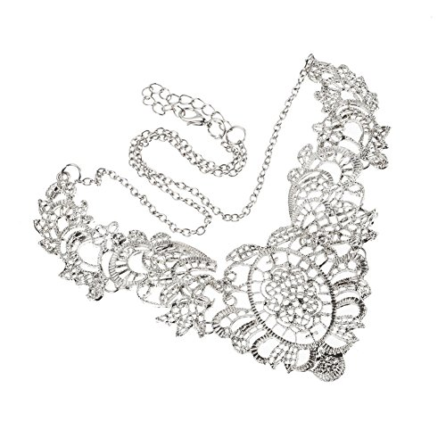 Silver Color Metal Jali Pattern : Stunning antique style filigree delicate silver colored