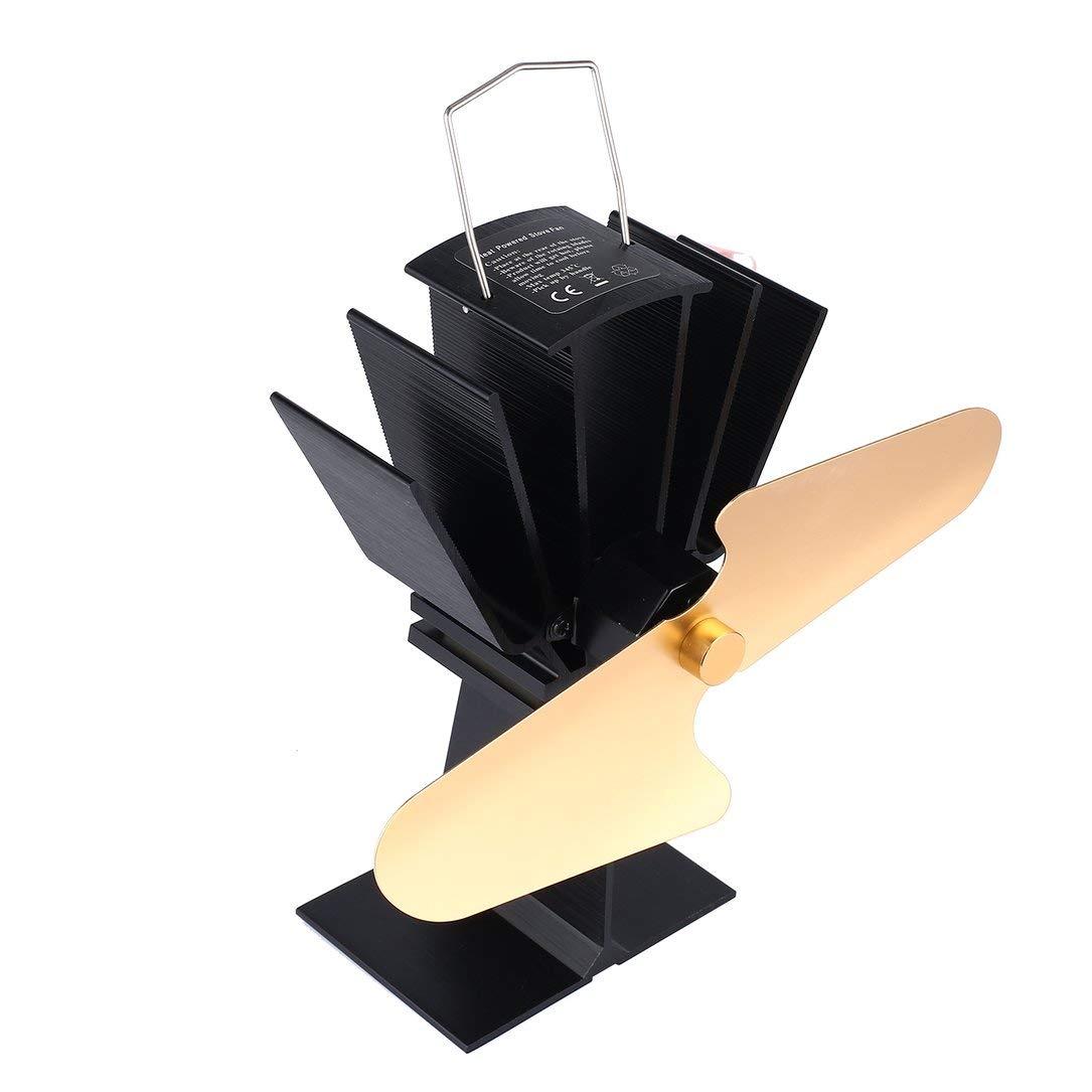 Sairis 2 Cuchillas Estufa eléctrica de Calor Ventilador ecológico Chimenea Ventilador Ahorro de Combustible Estufa Ventilador Chimenea (Dorado) c65250