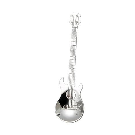 AmaMary Cucharillas de café de la guitarra, Arco iris creativo colorido acero inoxidable Guitarra Café