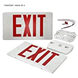 eTopLighting [2 Pack] Red LED Exit Sign, Emergency Light, Red Lettering in White Body, Battery Back Up, Extra Face Plate Double Face, Ceiling/Wall Mount, AGG2538