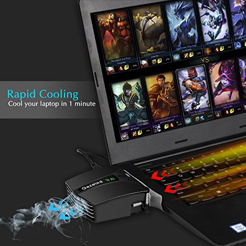 Gazeled-Laptop-Fan-Cooler-with-Temperature-Display-Rapid-Cooling-Auto-Temp-Detection-13-Wind-Speed-Black