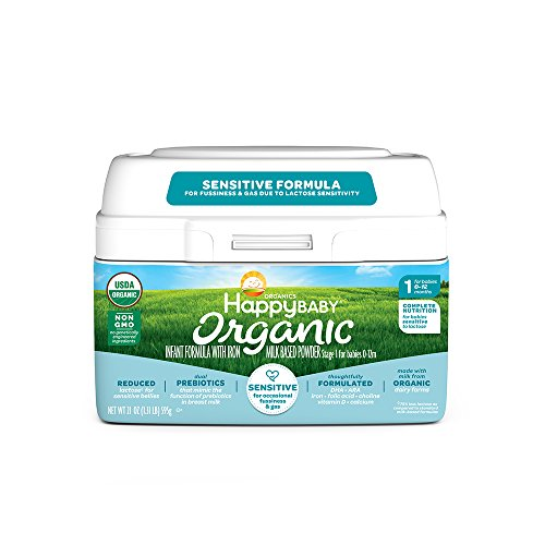 - Happy Baby Organic Stage 1 Infant Formula Sensitive, 21 Ounce Organic Formula Dual Prebiotics, Milk Based Powder, Non-GMO (Packaging May Vary)