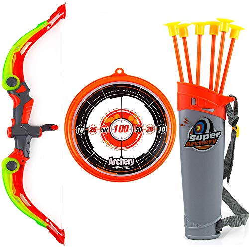 Toysery Bow and Arrow for Kids with LED Flash Lights - Archery Bow with 6 Suction Cups Arrows, Target, and Quiver - Practice Outdoor Toys for Children Above 6 Years of Age, Red -