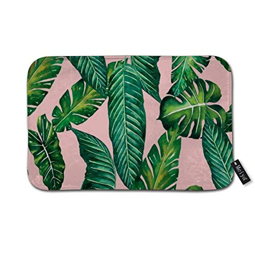 - BHUIA Jungle Leaves Banana Monstera ii Pink Society Shams Doormat Floor Mat with Non-Slip Backing Bath Mat Rug Home Decor 23.6×15.7inch