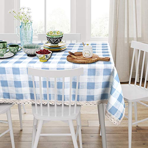 VIMOO Buffalo Plaid Tablecloth Spillproof Water Resistant Washable Table Cover with Crocheted Lace Border, Kitchen Wedding Restaurant Party Picnic Indoor Outdoor Use (Blue Gray, Rectangle - 60