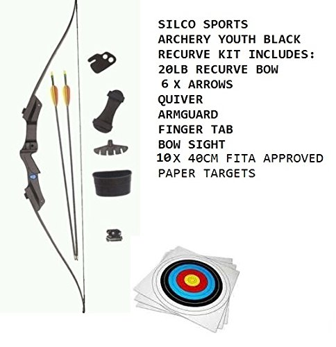 ARCHERY YOUTH KIDS BOW SET -BLACK RECURVE BOW & 6 X ARROWS & 10 X FITA  APPROVED PAPER TARGETS