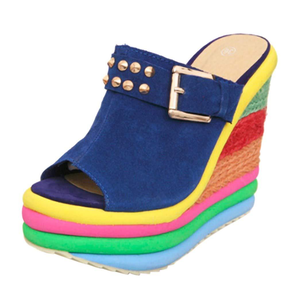 Midress Women's Ladies Wedges High Multicolor Patchwork Sandals Peep Toe Shoes Platform Wedges Heeled Sandals Shoes for Women