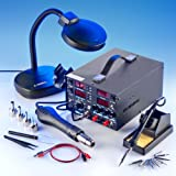 4 IN 1 - ''X-TRONIC'' MODEL #8080-XTS - HOT AIR REWORK & SOLDERING IRON STATION (CELSIUS/FAHRENHEIT), 30V-5A DC POWER SUPPLY & 50V-5A DC TEST METER - 10 SOLDERING TIPS - 4 HOT AIR NOZZLES - 1 ANTI-MAGNETIC TWEEZERS - 1 5X MAGNIFYING LAMP!!!