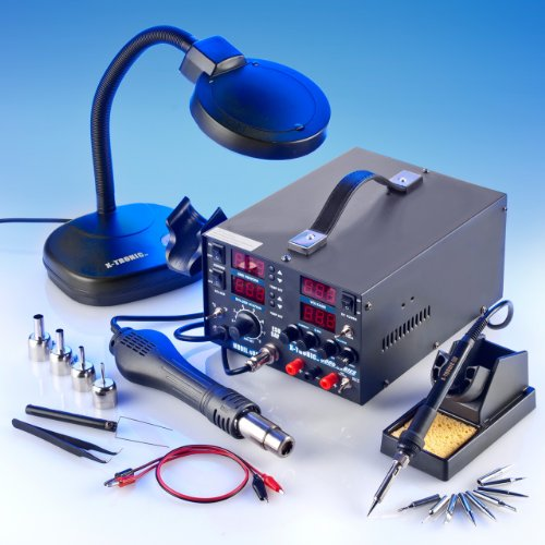 4 IN 1 - ''X-TRONIC'' MODEL #8080-XTS - HOT AIR REWORK & SOLDERING IRON STATION (CELSIUS/FAHRENHEIT), 30V-5A DC POWER SUPPLY & 50V-5A DC TEST METER - 10 SOLDERING TIPS - 4 HOT AIR NOZZLES - 1 ANTI-MAGNETIC TWEEZERS - 1 5X MAGNIFYING LAMP!!! by X-TRONIC