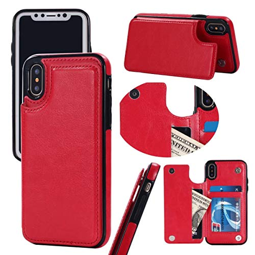 Cheap iPhone Xs/XS MAX/XR Wallet Case, Durable and Slim, Lightweight with Classic Design & Ultra-Strong Magnetic Closure, Faux Leather for Apple iPhone Xs/XS MAX/XR Man Women Black red
