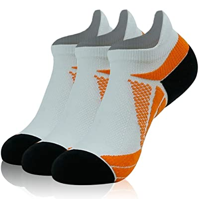 Low Cut Running Socks, Luccalily Dri-Fit Cushioned Breathable Reducing Swelling Low Cut Athletic Compression Sports Socks, Dri Fit Running Socks, 3 Pairs, White/Orange/Black: Clothing
