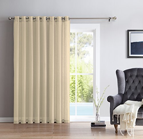 HLC.ME One Panel Extra Wide Sheer Voile Patio Door Grommet Curtain Panel (Beige) - 100