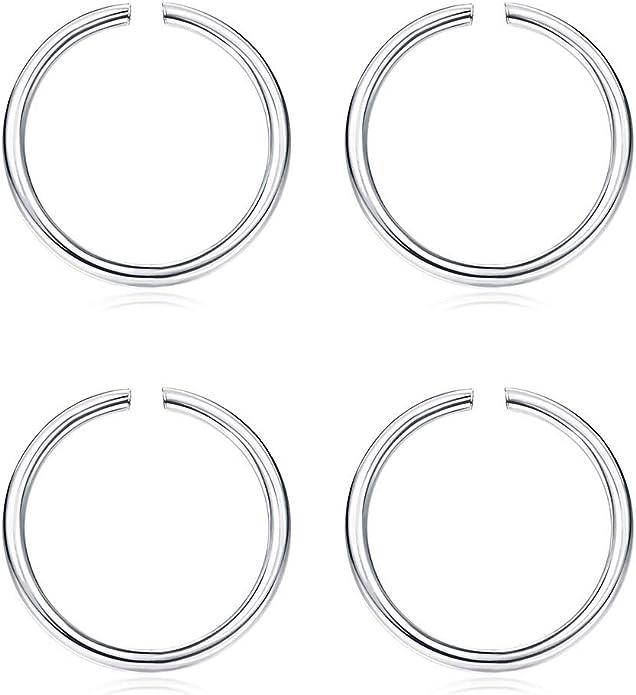 Sllaiss 4pcs 22g Tiny Open Nose Hoop Rings For Women Men 925