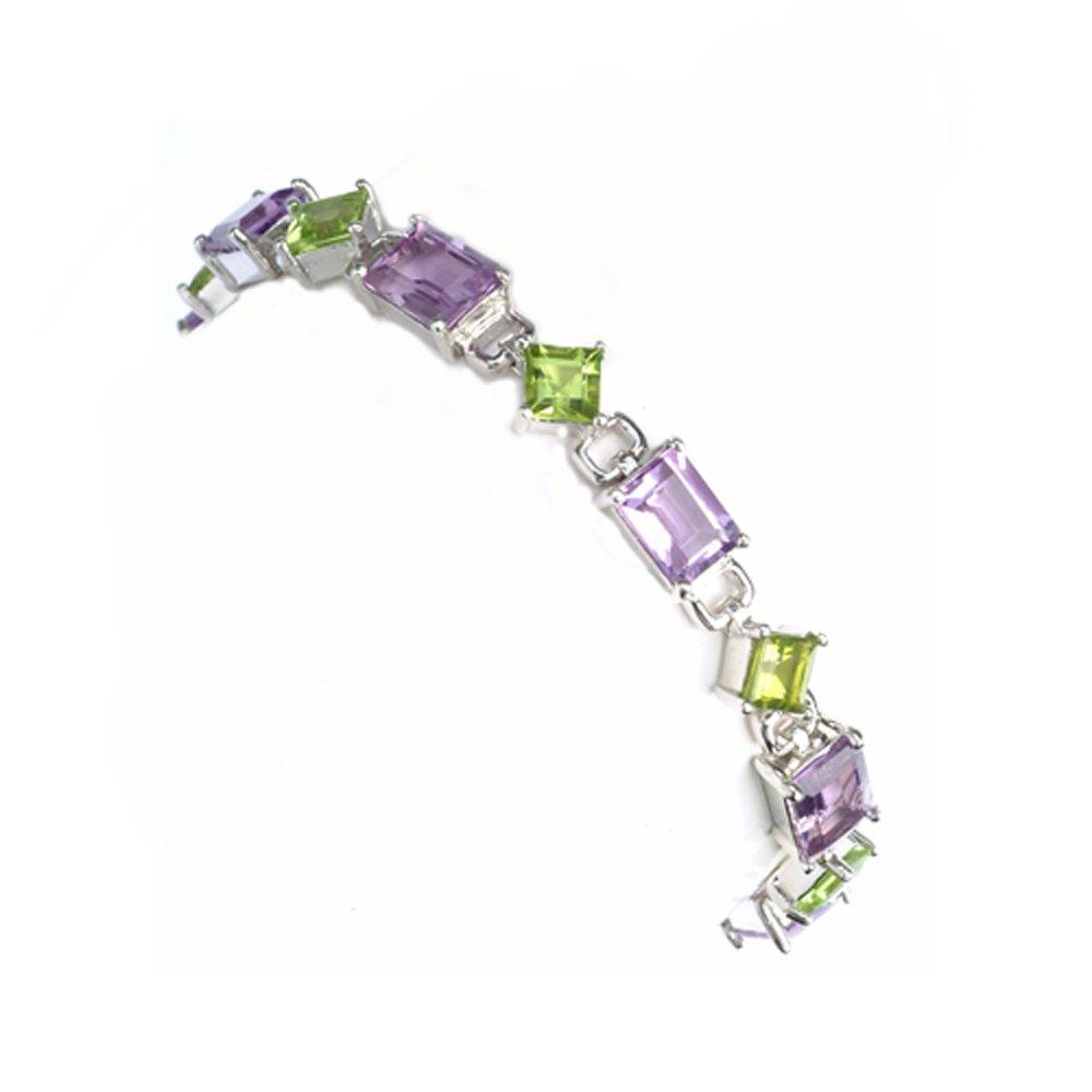 Sterling Silver 925 Amethyst and Peridot Genuine Gemstone Womens Bracelet 7'' - The Royal Gift