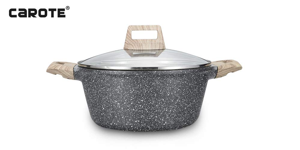 Carote 9.5 inch Stone-Derived Non-Stick Granite Coating Casserole Stockpot with lid
