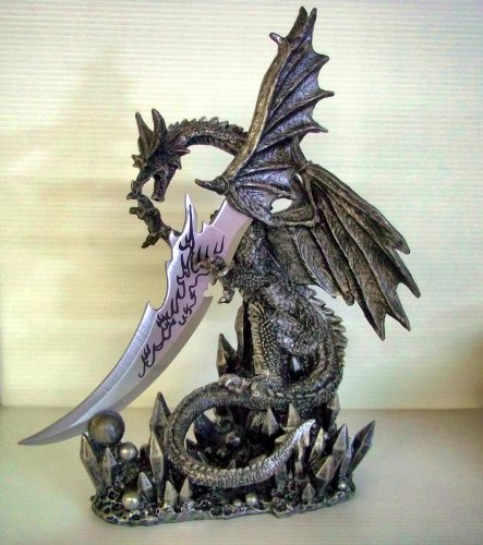 Dragon Knife Dagger Large Figurine Statue Gothic (Dragon Collectible Figurine Statue)