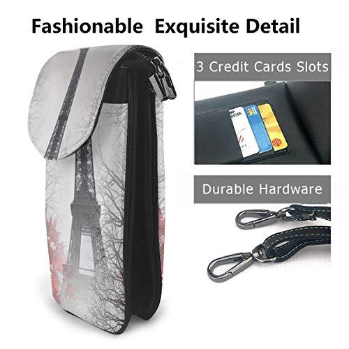 Hdadwy mobiltelefon crossbody väska Eiffeltornet höstlöv kvinnor PU-läder mode handväska med justerbar rem
