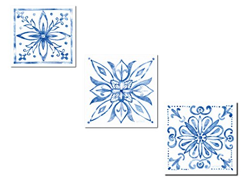 Lovely Blue and White Decorative Medallion Tile Stencil Patterned Print Set by Anne Tavoletti; Three 12x12in Paper Posters