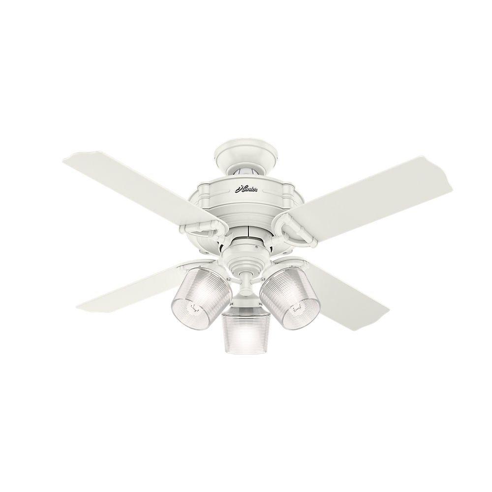 ハンター52262 Brunswick 44インチ天井のファンライト、リモート制御、フレッシュホワイト B06X92KBFG
