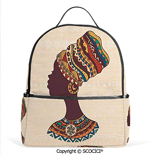 Lightweight Chic Bookbag African Woman in Traditional Ethnic Fashion Dress Portrait Glamour Graphic,Cream Brown,Satchel Travel Bag Daypack