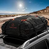 F Fellie Cover Car Cargo Bag Waterproof Roof Carrier Bag Cross Country Soft Car Top Carrier with Heavy Duty Straps and Storage Bag for Car SUV Jeep ATV (16 Cubic Feet Capacity)