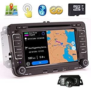 "BT Pupug, telecamera per retromarcia, da installare sul cruscotto, AUX, touch screen digitale 7"", PC, lettore DVD, navigatore GPS, stereo con radio FM/AM/RDS, Bluetooth, iPod, Can bus, mappe stradali 8 GB 1 spesavip"