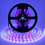 Cosumina Waterproof IP65 UV/Ultraviolet Black light LED strip Lights,16.4Ft/5M Length 300 Units 3528 LEDs, Water-resistance LED Tape Light, Wavelength 395-405nm For DJ Bar Club Party Decoration