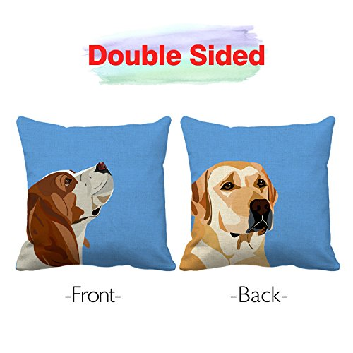 Snapmade Premium New Fashion Dogs Cotton Linen Square Throw Pillow Case Cushion Cover Double Sides Printed Home Decorative For Couch Sofa Bed, 18 x 18 inch set of 4 with 20 pcs sofa cover stoppers