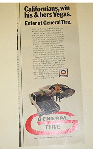 1971 Chevrolet Vega General Tires Delco 25 Millionth Battery Ad