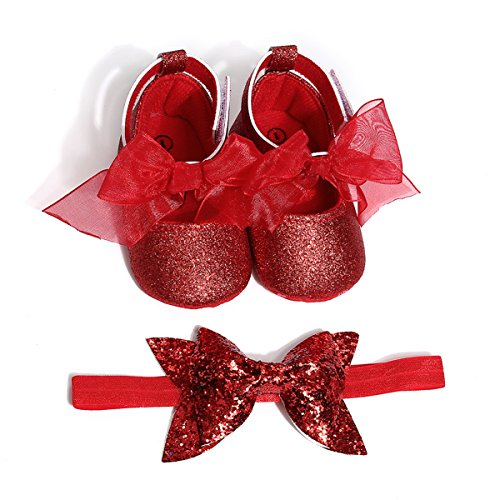 Baby Girls Mary Jane Flats Sparkly Soft Sole Infant Crib Shoes with Headband