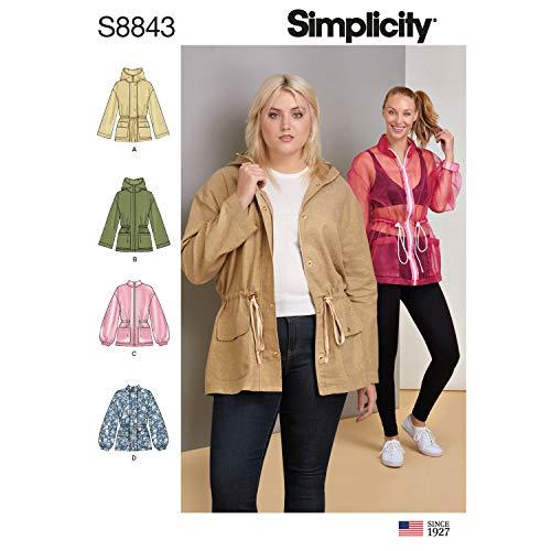 Simplicity US8843BB Pattern S8843 Misses' Anorak Jacket, BB (L-XL-XXL) ()