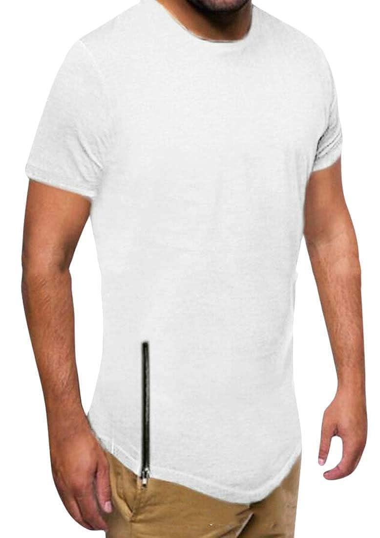 HANA+Dora Mens T-Shirt Short Sleeve Round Neck Zipper Trim Slim Casual Tee Shirt