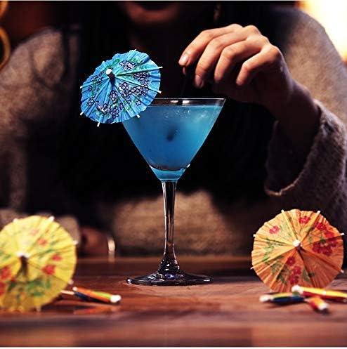 Febbya Cocktail Sonnenschirme,50er Pack Cocktail Dekoration Papier Getränkedekoration Sonnenschirme für Bar Deko Cocktailzubehör Trinkfrüchte Essen Wein Party Muticolors 10cm