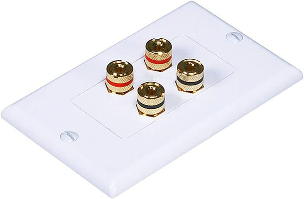 Monoprice High Quality Banana Binding Post Two-Piece Inset Wall Plate for 2 Speakers - Coupler Type