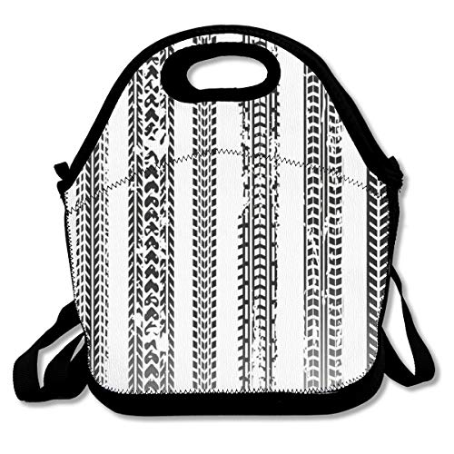 Motorcycle Tire Tracks Striped Lunch Bag Portable Bento Carry Case Tote Food Boxes Multifunction Bags Outdoor Handbag Adults Kids Pouch For School Picnic Travel Office Work (Best European Motorcycle Tours)