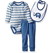 Rene Rofe Baby Boys' 3pc Turn-Me-Round-Set With Long Sleeve Bodysuit, Bib and Pant For, Blue Elephant, 6-9 Months