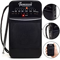 AM // FM Pocket Radio with Superior Reception - Battery Powered, Built-in Speaker, 3.5mm Stereo Headphone Jack