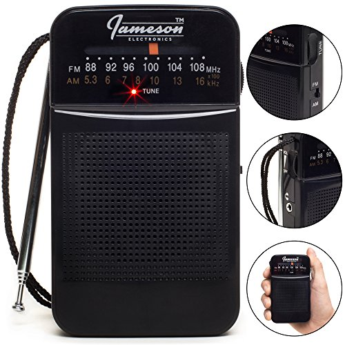 AM // FM Portable Pocket Radio with Best Reception - Small Battery Operated Transistor, Built-in Speaker, 3.5mm Headphone Jack - Powered by AA Batteries (Black) (Best Battery Powered Portable Radio)