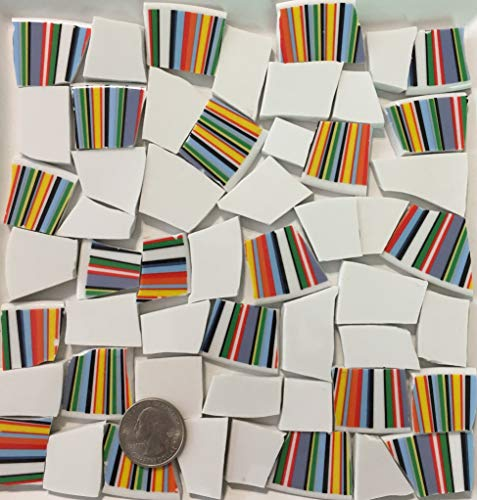 - Mosaic Art & Crafts Supply ~ Blue Yellow Red & Green Stripes White Tiles (B683)