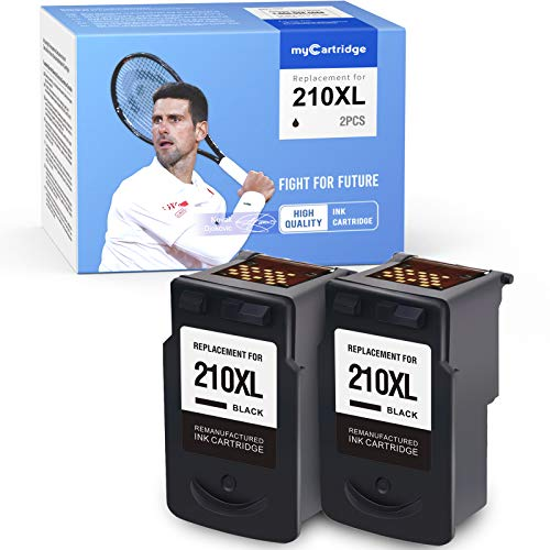 MYCARTRIDGE Remanufactured Ink Cartridge Replacement for Canon PG-210XL 210XL 210 XL Work for PIXMA MP490 MP240 MP495 MP280 MP250 IP2702 MX410 (2 Black)