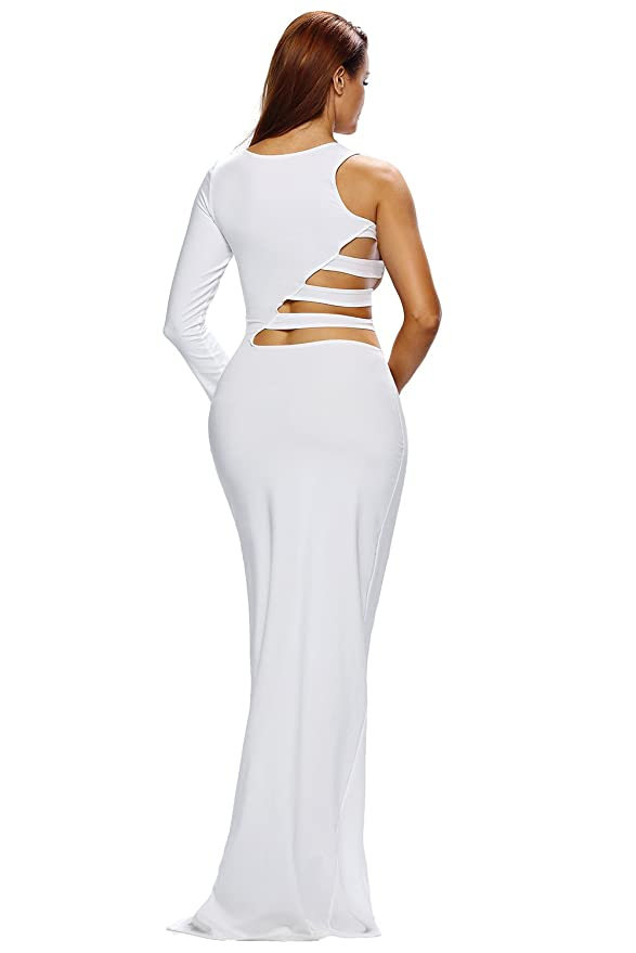 White Single Long Sleeve Cutout Detail Jersey Maxi Dress White (US 4-6)S at Amazon Womens Clothing store: